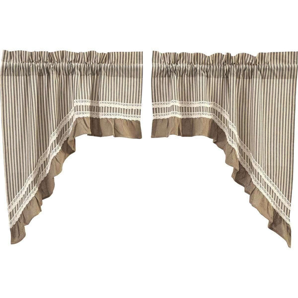 Kendra Stripe Black Swag Curtain Set of 2 36x36x16