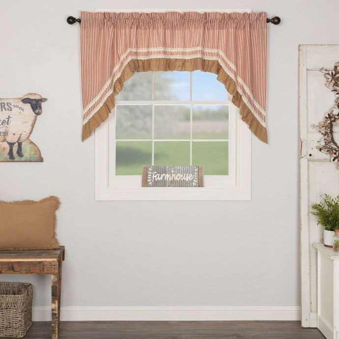 Kendra Stripe Parchment, Brick Red Swag Curtain Set 36