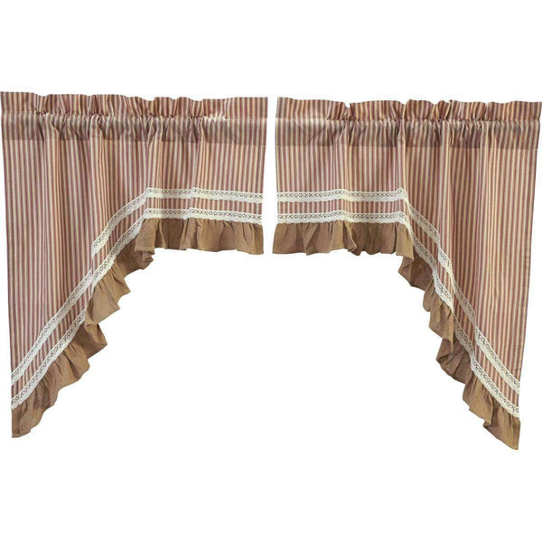 "Kendra Stripe Parchment, Brick Red Swag Curtain Set 36"" x 36"" VHC Brands - The Fox Decor"