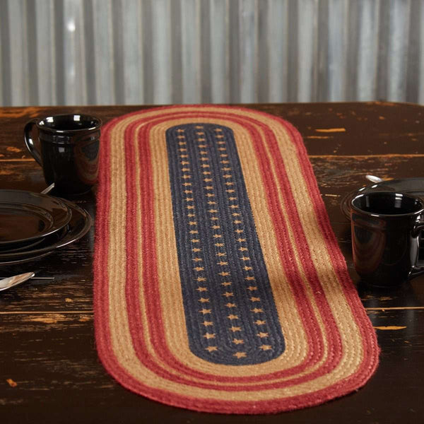 Liberty Stars Flag Jute Braided Table Runner back