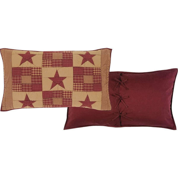 Ninepatch Star Black Burgundy Twin Set; 1-Quilt 68Wx86L w/1 Sham 21x27 VHC Brands online