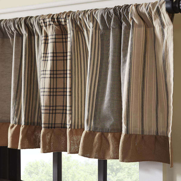 Sawyer Mill Charcoal Patchwork Valance Curtains red online