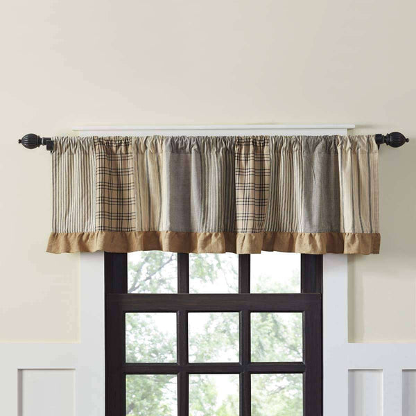 Sawyer Mill Charcoal Patchwork Valance Curtains Charcoal