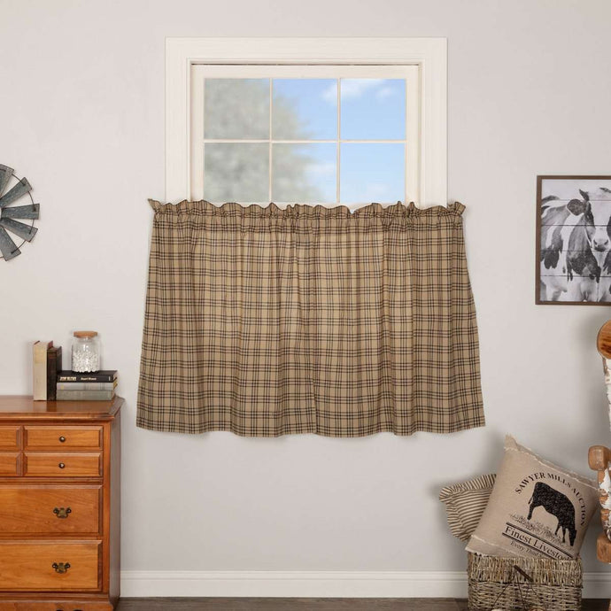 Sawyer Mill Charcoal Plaid Tier Curtain Set VHC Brands - The Fox Decor