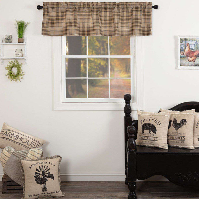 Sawyer Mill Charcoal Plaid Valance Curtain VHC Brands - The Fox Decor