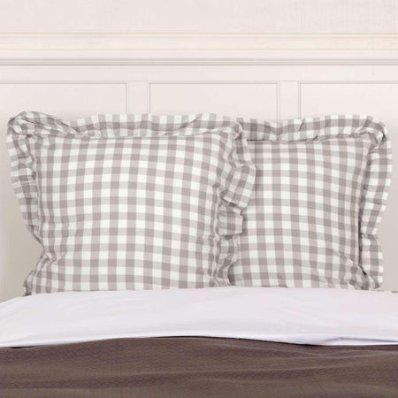 Annie Buffalo Grey Check Fabric Euro Sham 26x26 VHC Brands