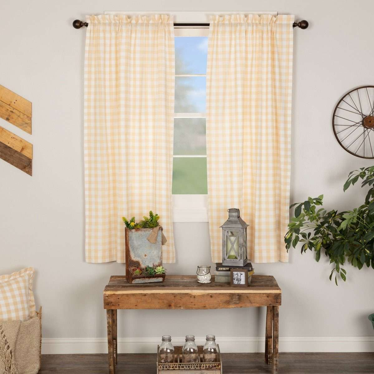 Annie Buffalo Tan Check Short Panel Curtain Set of 2 63