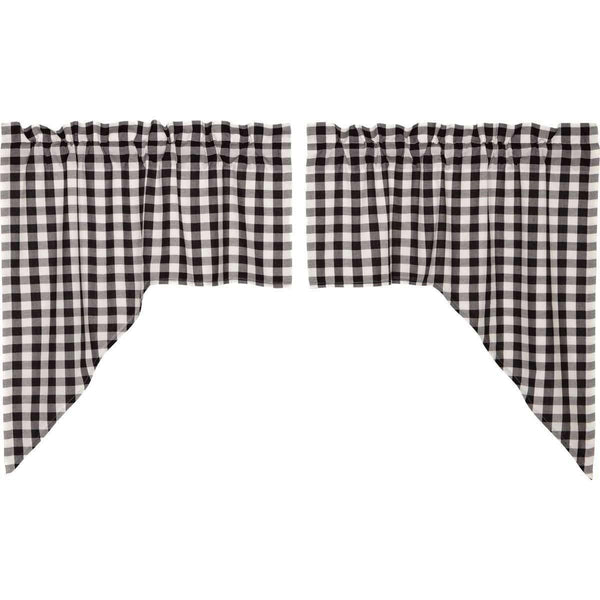 Annie Buffalo Black Check Swag Curtain Set of 2 36x36x16