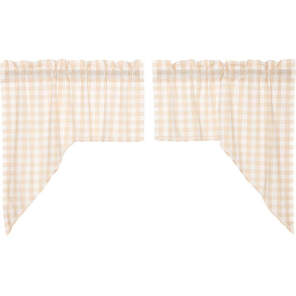 Annie Buffalo Tan Check Swag Curtain Set of 2 36x36x16