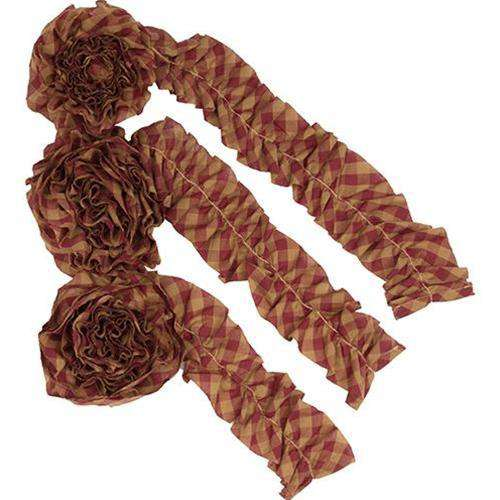 3/Set, Burgundy Check Garland, 9ft General CWI+