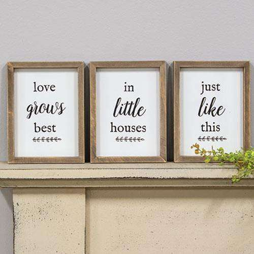 3/Set, Love Grows Best Framed Signs Farmhouse Signs CWI+