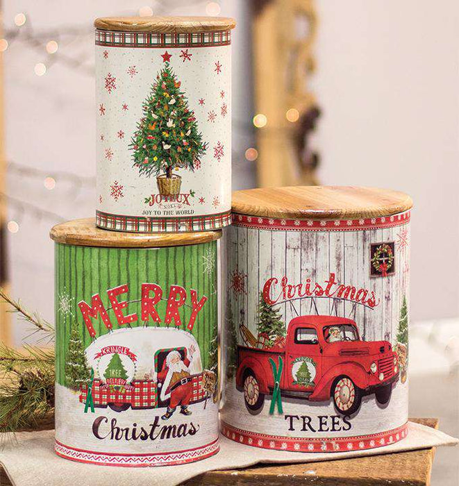3/Set, Merry Christmas Canisters Vintage Christmas Decor CWI+