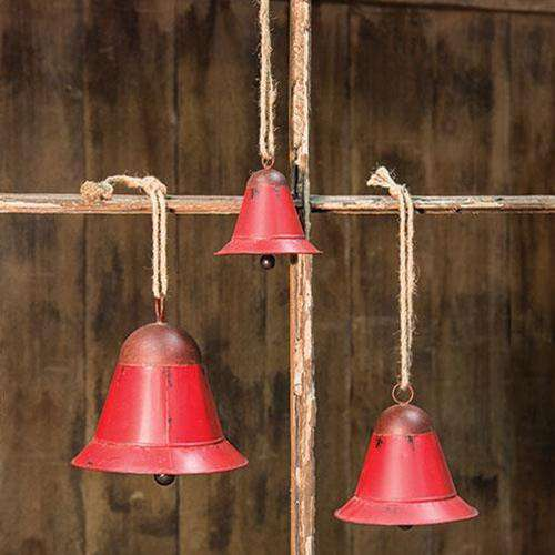 3/Set, Red Rustic Bells Christmas Bells CWI+