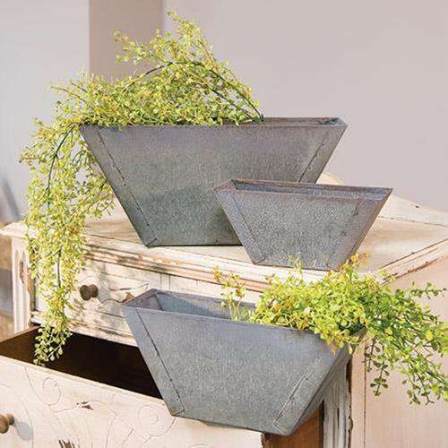 3/Set Washed Galvanized Flower Boxes Containers CWI+