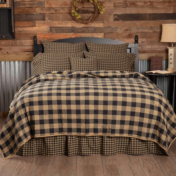 Black Check Quilt Coverlet VHC Brands california king