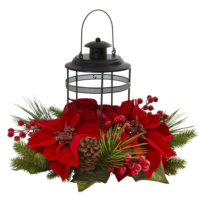 Poinsettia Berry Pine Artificial Arrangement Candelabrum