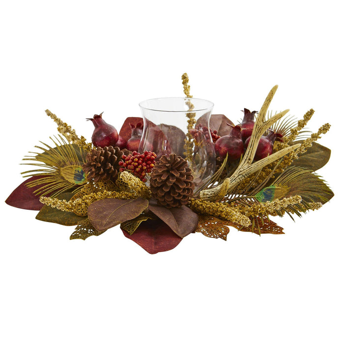 Magnolia, Berry, Antler and Peacock Feather Artificial Candelabrum Arrangement