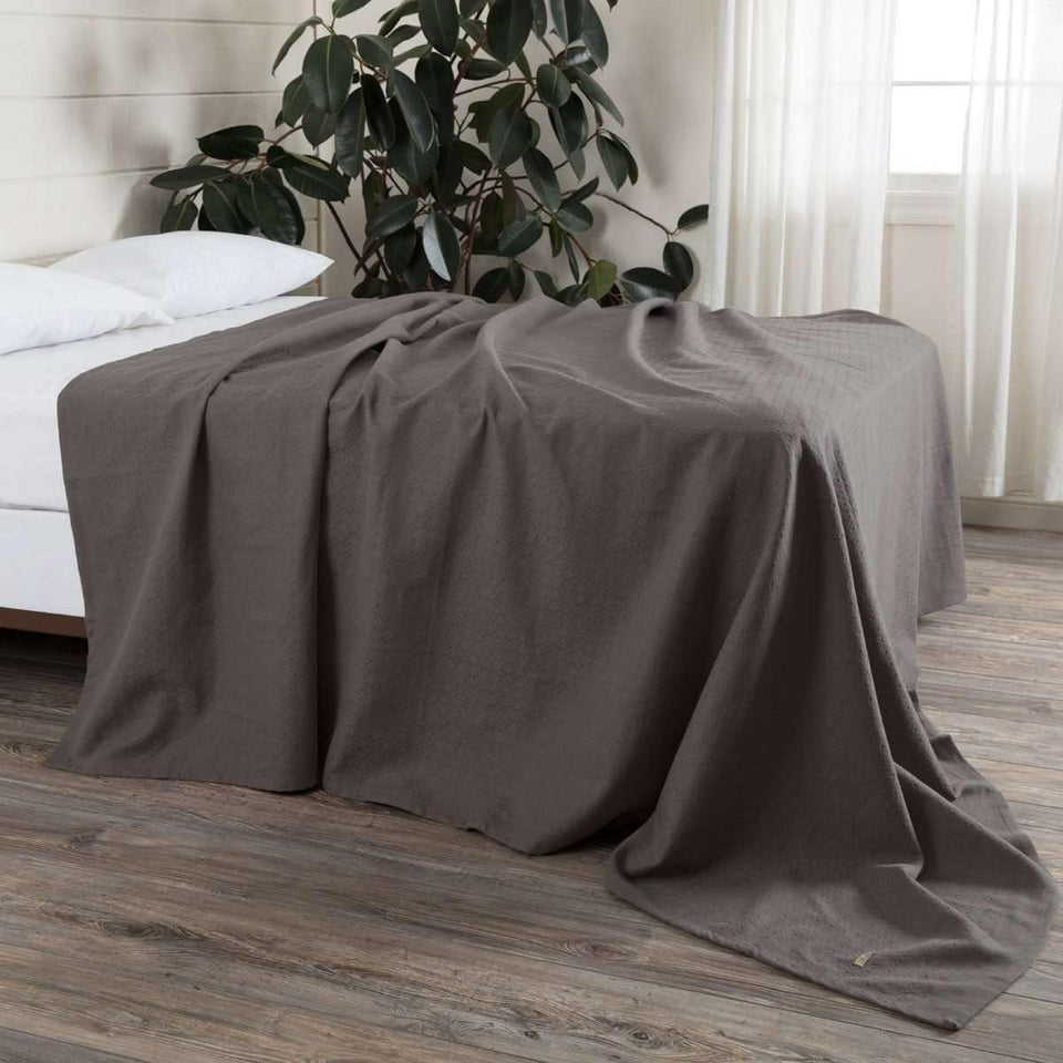 Serenity Grey Cotton Woven Blanket VHC Brands