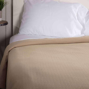 Serenity Tan Cotton Woven Blanket VHC Brands