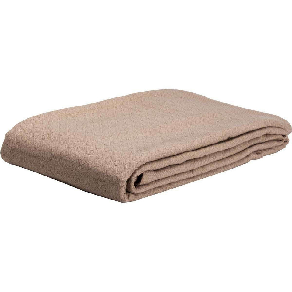 Serenity Tan Cotton Woven Blanket VHC Brands folded
