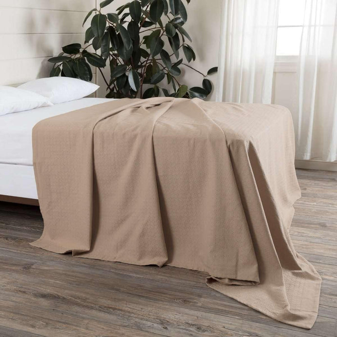 Serenity Tan Cotton Woven Blanket VHC Brands online