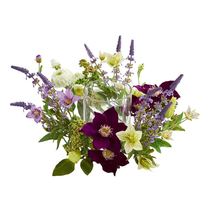 Mixed Floral Artificial Arrangement Candelabrum