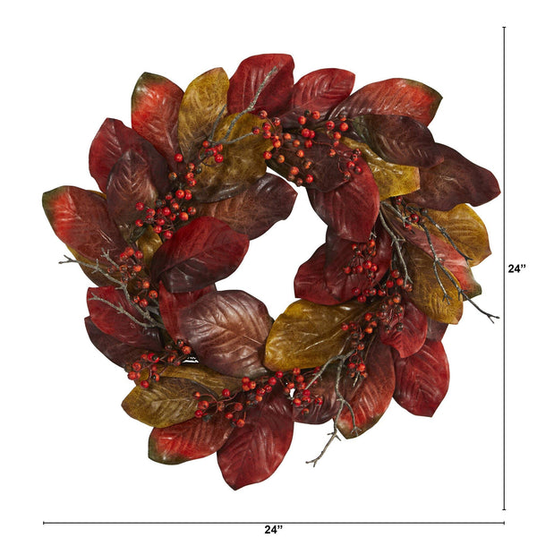 "24"" Harvest Magnolia Leaf and Berries Artificial Wreath"