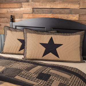 Black Check Star King Sham 21x37 VHC Brands