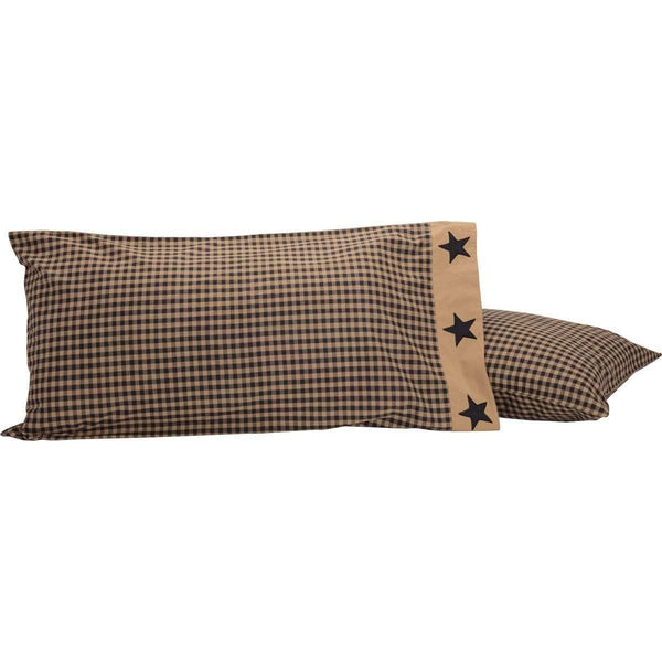 Black Check Star King Pillow Case Set of 2 21x40 VHC Brands
