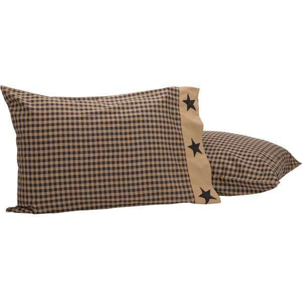 Black Check Star Standard Pillow Case Set of 2 21x30 VHC Brands