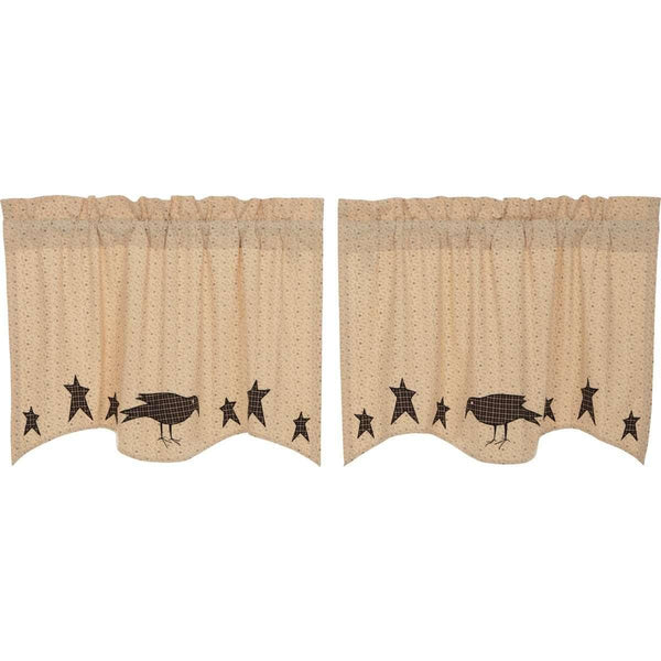 Kettle Grove Applique Crow and Star Tier Curtain Set of 2 L24xW36