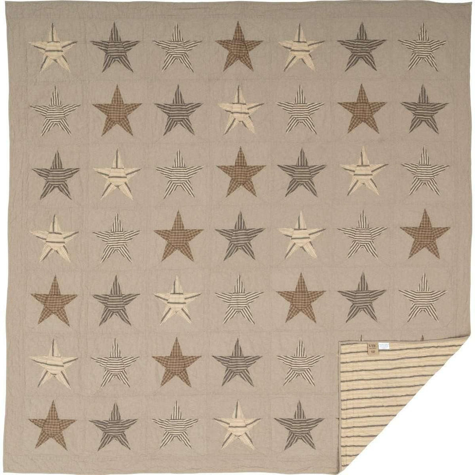 Sawyer Mill Star Charcoal Queen Quilt 90Wx90L VHC Brands full