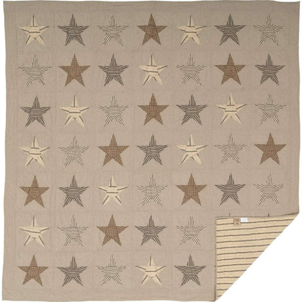 Sawyer Mill Star Charcoal Queen Quilt 90Wx90L VHC Brands folded