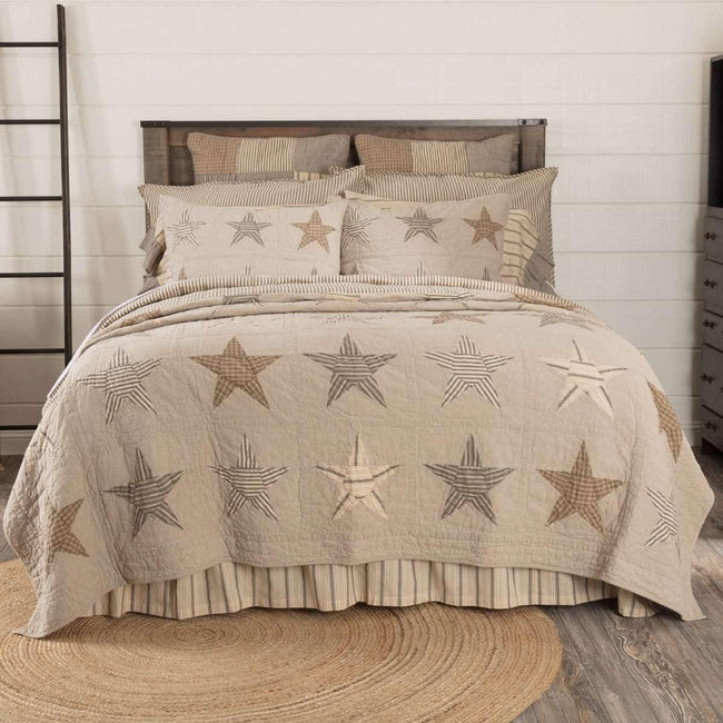 Sawyer Mill Star Charcoal Twin Quilt 68Wx86L VHC Brands