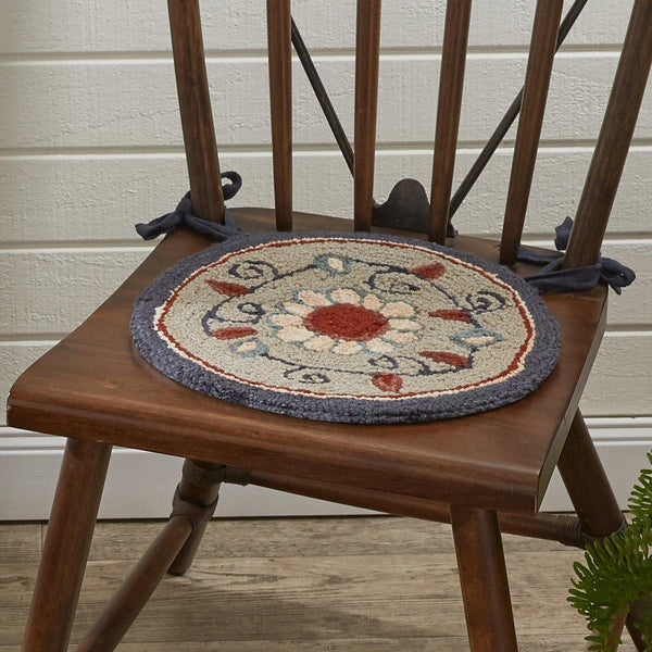 Gray Floral Hooked Chair pad Park Designs