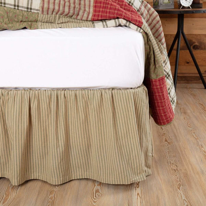 Prairie Winds Green Ticking Stripe Bed Skirts VHC Brands - The Fox Decor