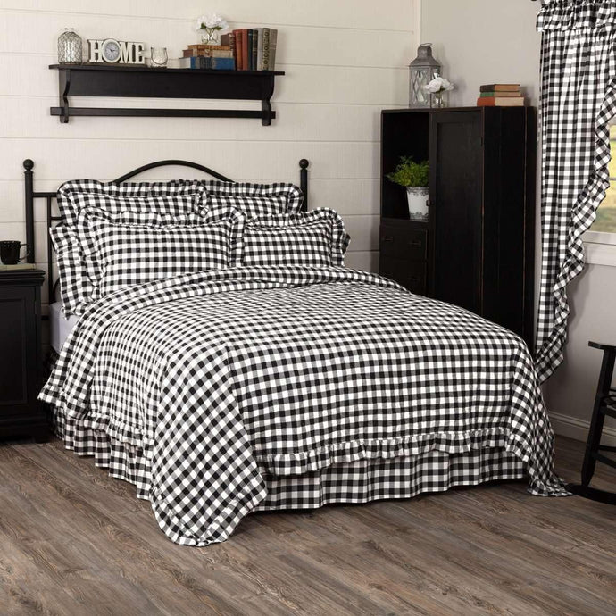 Annie Buffalo Black Check Ruffled Quilt Coverlet VHC Brands