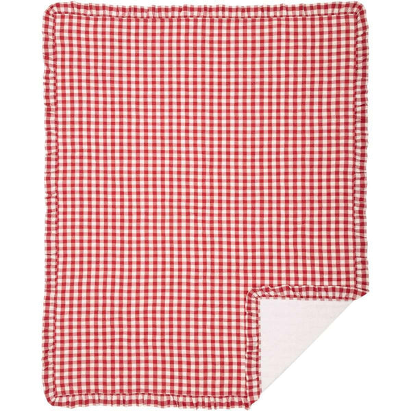 Annie Buffalo Red Check Ruffled Quilt Coverlet VHC Brands