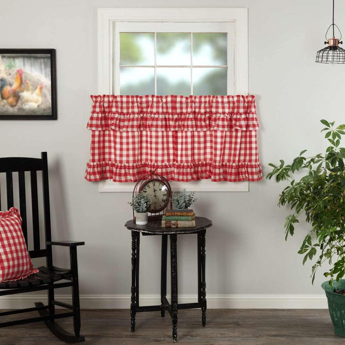 Annie Buffalo Red Check Ruffled Tier Curtain Set of 2 L24xW36