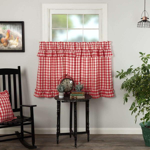 Annie Buffalo Red Check Ruffled Tier Curtain Set of 2 L36xW36