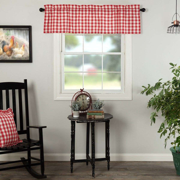 Annie Buffalo Check Valance Curtain Black, Grey, Red, Tan - The Fox Decor