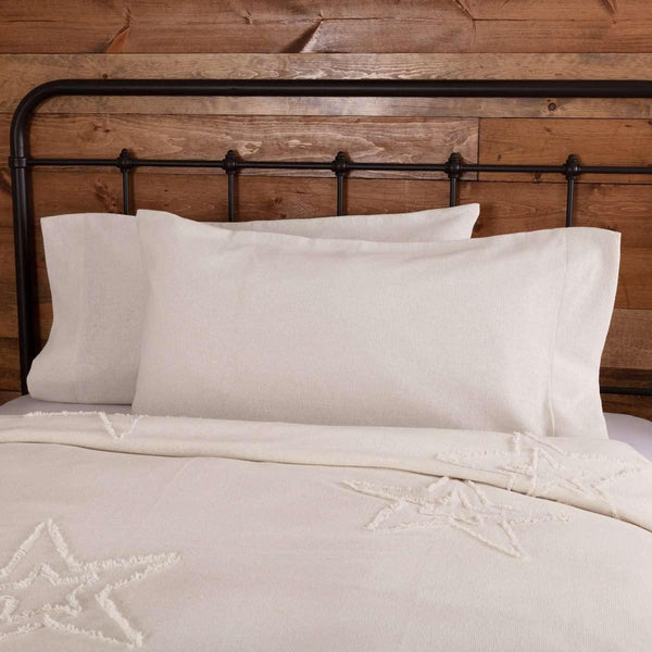Burlap Antique White King Pillow Case Set of 2 21x40