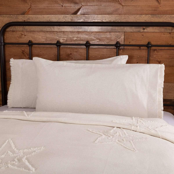 Burlap Antique White King Pillow Case w/ Fringed Ruffle Set of 2 21x40