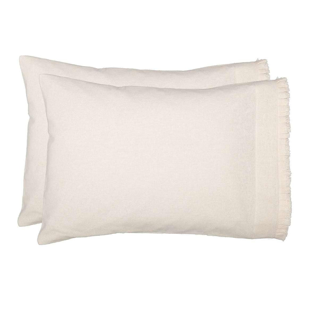 Burlap Antique White Standard Pillow Case w/ Fringed Ruffle Set of 2 21x30 VHC Brands