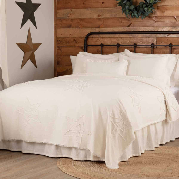 Burlap Antique White Star King/Queen/Twin Coverlet - The Fox Decor