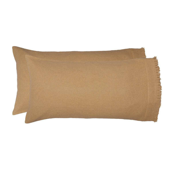 Burlap Natural King Pillow Case w/ Fringed Ruffle Set of 2 21x40 VHC Brands