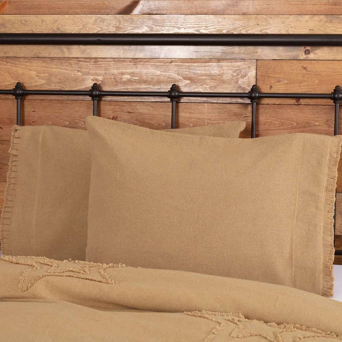 Burlap Natural Standard Pillow Case w/ Fringed Ruffle Set of 2 21x30