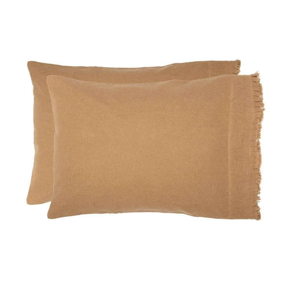 Burlap Natural Standard Pillow Case w/ Fringed Ruffle Set of 2 21x30 VHC Brands