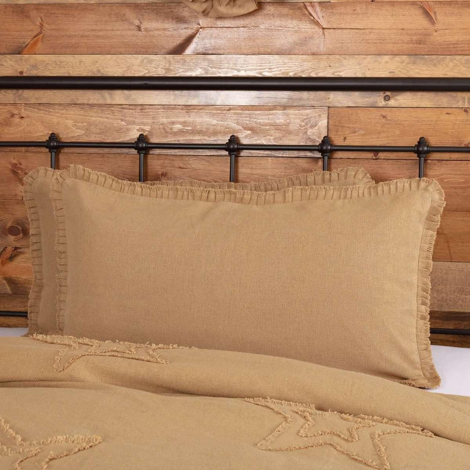 Burlap Natural King Sham w/ Fringed Ruffle 21x37 VHC Brands