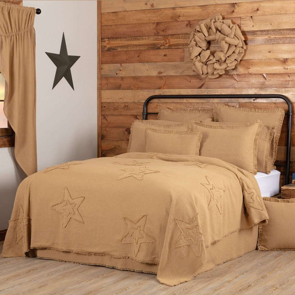 Burlap Natural Star King/Queen/Twin Coverlet - The Fox Decor